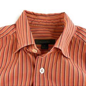 Ermenegildo Zegna Orange Striped Button Down Shirt